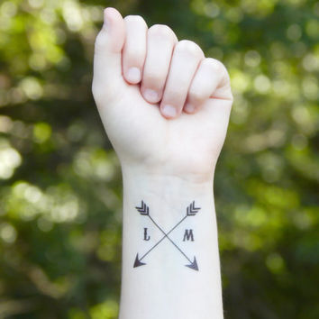 Temporary Tattoo - Arrow Tattoo - Wedding Favor Tattoo - Initial Tattoo - Love Tattoo