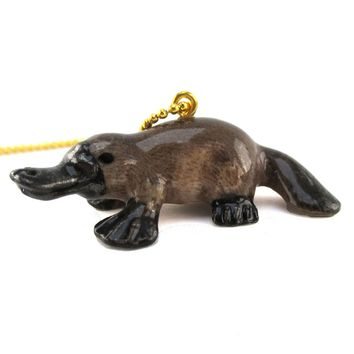 3D Porcelain Platypus Shaped Ceramic Pendant Necklace