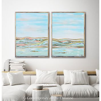 """Heavenly Day"" ORIGINAL Art Diptych Abstract Landscape Painting w/ Gold Leaf Textured 2 -Canvases, 60x40"" Total"