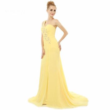 One shoulder Beaded Chiffon with Watteau Elegant Formal Prom Gowns Yellow Evening Dresses