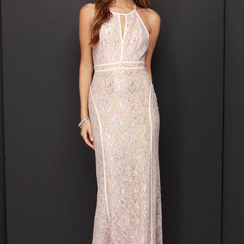 LULUS Exclusive Dazzle Me Pale Blush Lace Maxi Dress