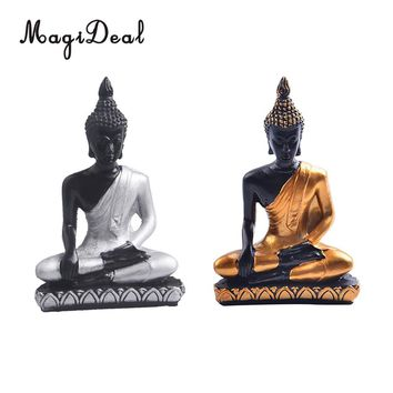MagiDeal Chinese Feng Shui Buddha Miniature Meditation Statue Figurine Resin Painted Sculpture -Home Decor Gift Gold/Silver