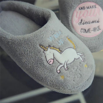New Year Cute Unicorn Slippers Women's House Shoes For Indoor Bedroom Shoe Men Soft Bottom Comfortable Slippers Adult Flats Gift