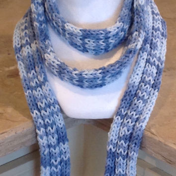 Blue Ombré Knitted Fall Winter Fashion Scarf