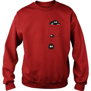 Susuwatari ghibli pocket spirited away shirt Sweatshirt Unisex