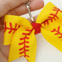 Mini softball bow key chain,  softball purse charm, mini cheer bow key chain, softball gift, fastpitch key ring, sports gift, softball mom