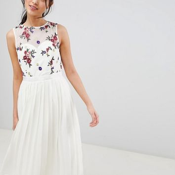 Little Mistress Midi Dress With Embroidery Detail at asos.com