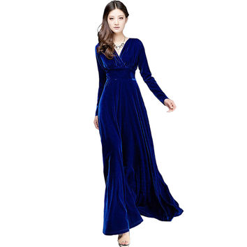 Long Dres Plus Size S~3XL Women Winter Dresses Long Sleeve V Neck Maxi Dress Velour Women Sexy Dresses Party Night Club Dress