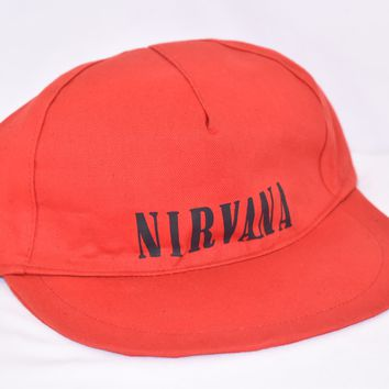 90s Nirvana Rock Band Red Snapback Hat
