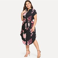 Elegant Floral Print Straight Belted Dress Women Casual Roll Up Sleeve Midi Dresses