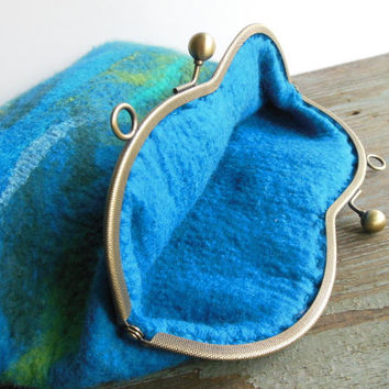 Hand felted bag  turquoise green purse  pouch  metal frame purse, wool felted, OOAK bag, designer bag, one of the kind bag