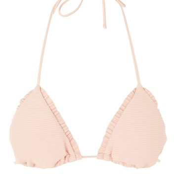 Frill Ribbed Triangle Bikini Top | Topshop