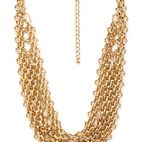 FOREVER 21 Chained Bib Necklace Gold One