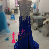 Newly Sweetheart Sequin With Beading Royal Blue Prom Dresses ASYM Crystals Little Mermaid Sequin Evening Gowns Sexy Party Gown Formal Dress