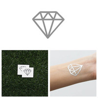 Hidden Gem - Metallic Silver Temporary Tattoo (Set of 4)
