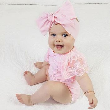 Cute Baby Girls Infant Floral Heart Lace Sleeveless Clothes Jumpsuit Romper Baby's sleeveless lace love printed