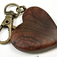 LV-2546 Arizona Desert Ironwood Wooden Heart Charm, Keychain, Wedding Gift-Unique Hand Made