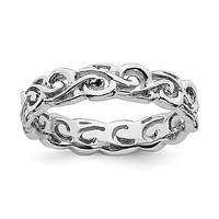 Sterling Silver Stackable Expressions 4.5mm Openwork Carved Ring