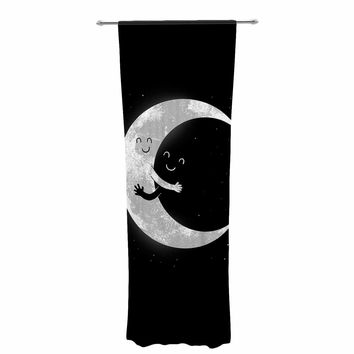 "Digital Carbine ""Moon Hug"" Black White Decorative Sheer Curtain"