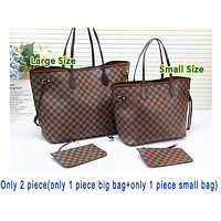 Louis Vuitton LV New Fashion Monogram Check Shopping Handbag Shoulder Bag Two Piece Suit Bag Women Coffee Tartan