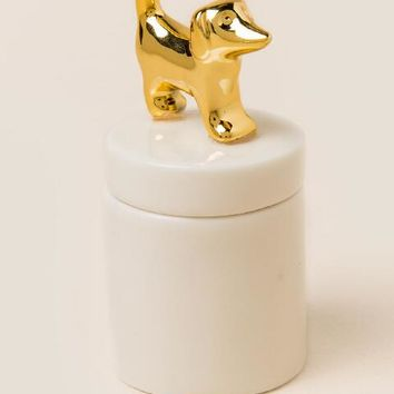 Gold Dog Round Trinket Box