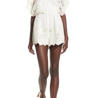 ASTR 'Alicia' Embroidered Cotton & Silk Cold-Shoulder Romper | Nordstrom