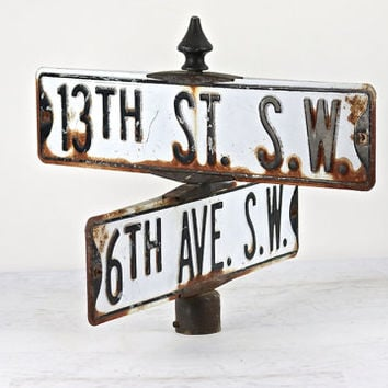 Vintage Street Sign, Metal Street Sign, Double Street Sign, Industrial Decor