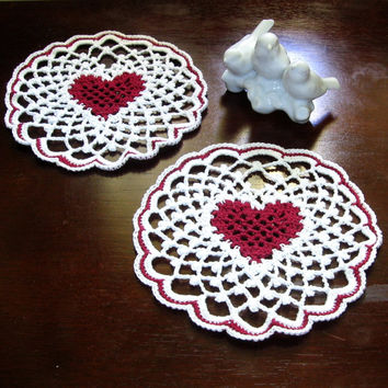 Crocheted Lace Heart Coaster Set of 2 - Red Heart in White Irish Picot Lace - Trinket Doily or Lace Applique