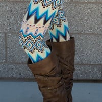 Abstract Tribal ZigZag Print Ladies Leggings