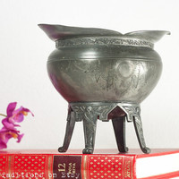 Antique Cauldron Dish: Aesthetic Movement Witches Cauldron / Planter, Witchcraft, Decorative Pewter Planter