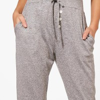 Petite Shannon Melange Button Relaxed Jogger | Boohoo