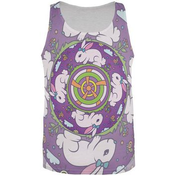 LMFCY8 Mandala Trippy Stained Glass Easter Bunny All Over Mens Tank Top