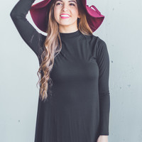 Long Sleeve Mock Neck Dress in Black