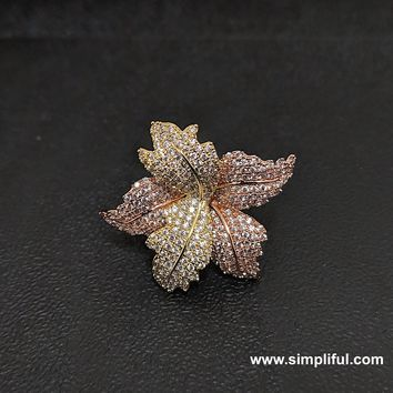 3 tone leafy Adjustable CZ Finger ring