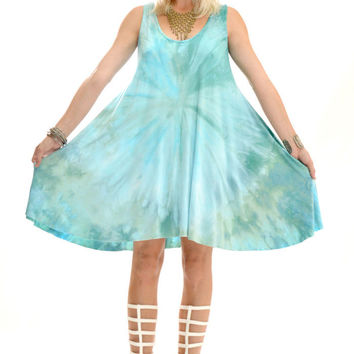 Aqua Tie Dye Mini Dress