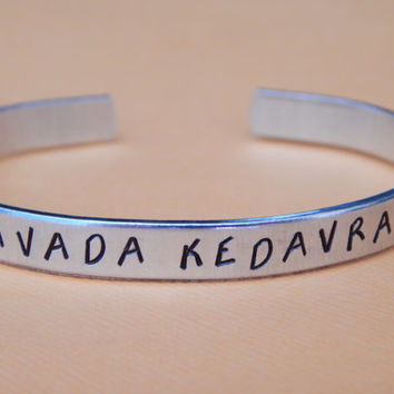 Avada Kedavra Harry Potter Inspired Aluminum Cuff Bracelet - Hand Stamped Gift Under 20