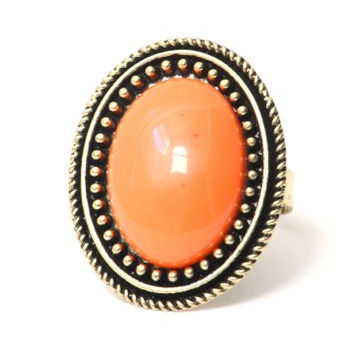 Coral Oval Cocktail Ring Adjustable Antique Statement RF12 Gem Fashion Jewelry