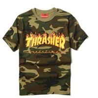 Thrasher flame print camouflage man tee top