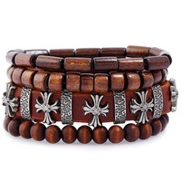 New Arrival Awesome Great Deal Stylish Gift Shiny Hot Sale Cross Rack Simple Design Vintage Leather Alloy Men Bracelet [250988331037]