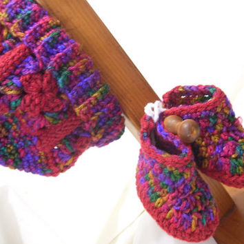 Baby Bundled Toddler Crochet Winter Sets  Hat Poncho Vest Afghan Booties Autumn Multi Shades