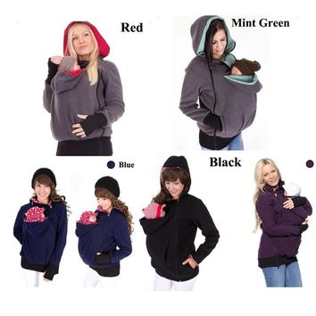 Baby Carrier Jacket Kangaroo hoodie Winter Maternity Outerwear Coat for Pregnant Women Thickened Pregnancy Baby WearingCoat