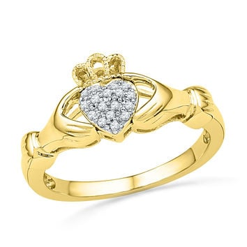 10kt Yellow Gold Womens Round Diamond Claddagh Hands & Heart Cluster Ring 1/20 Cttw 100533