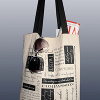 """Screenprinted Canvas Tote Bag - """"All You Need is Love"""""""