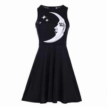 Punk style black moon star dress harajuku black 2018 new free shipping