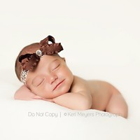 Brown Baby Headband, Chocolate Brown Girl Headband, Newborn Headband, Ruffles And Damask | Luulla