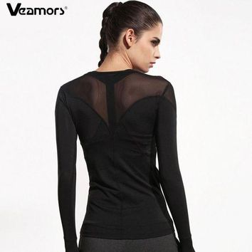 PEAPFS2 VEAMORS Women Mesh Patchwork Running T Shirts Breathable Long Sleeve Gym Sports T-Shirt Black Quick Dry Fitness Yoga Shirts Tops