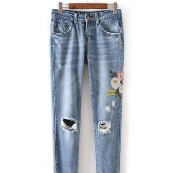 Stylish Women Destroyed Ripped Distressed Slim Denim Pants Jeans Trousers
