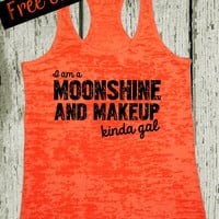 I am a Moonshine and Mascara Kinda Gal. Southern Girl Tank Top. Southern Shirt. Country Tank. Fitness Tank. Southern Clothing. Free Shipping