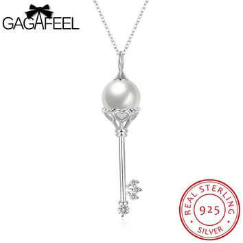 GAGAFEEL Women Necklace 925 Sterling-Silver-Jewelry Chains Fine Key Pendant Fashion Plated Imitation Pearl Clear CZ Zircon
