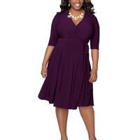 Purple V-Neck Half Sleeve Midi Dress